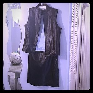 Vintage Tommy Leather Skirt & Vest Set